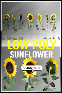 Low poly Sunflower - Polygons - Tries - Vertex - flower, game, low, low poly, lowpoly