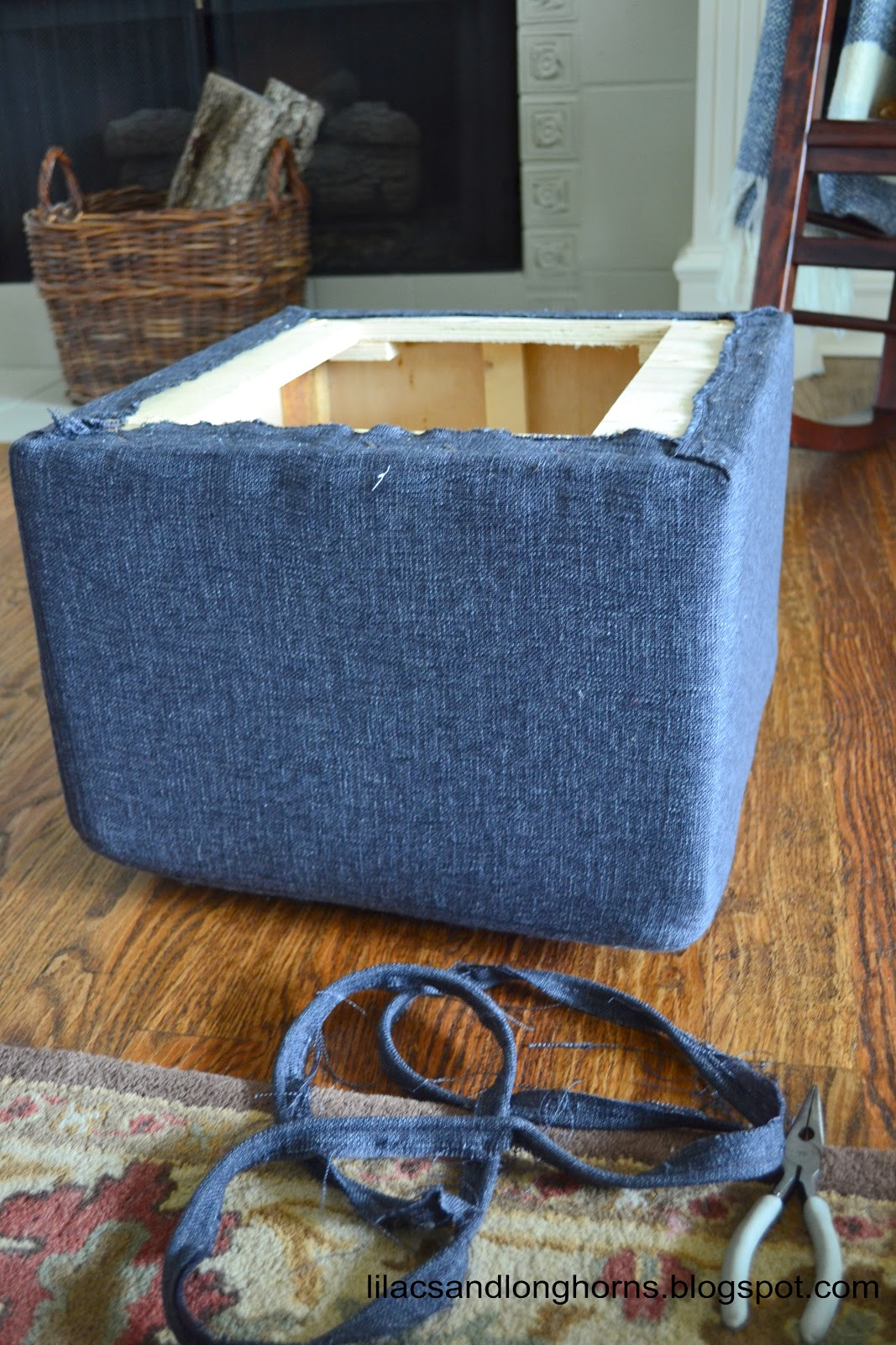 I decided to keep the old fabric on the piece and just add more batting  over it. (On this piece it doesn't hurt to keep the old fabric on, ... - I Did It! {Reupholstering Cube Ottomans Tutorial} - Lilacs And