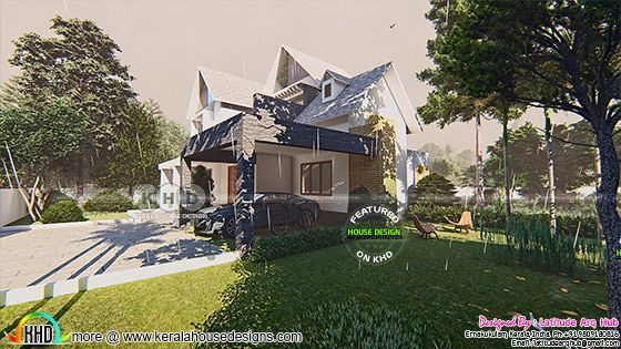 European style sloped roof 2430 sq-ft home