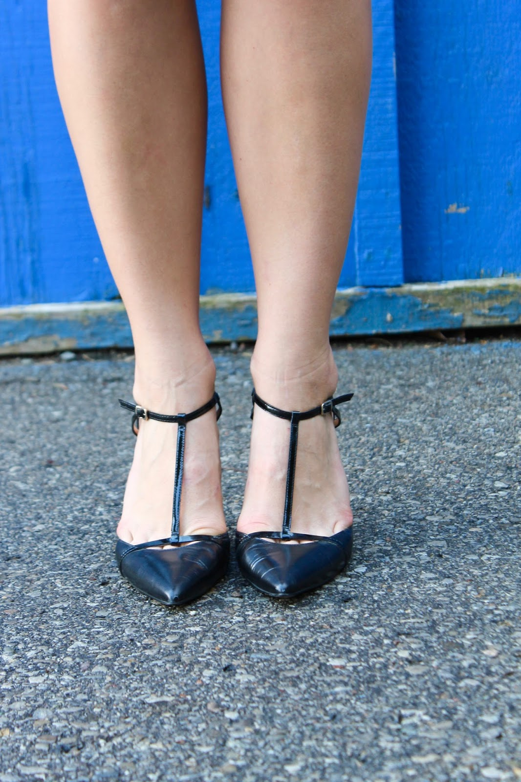 black t-strap pumps
