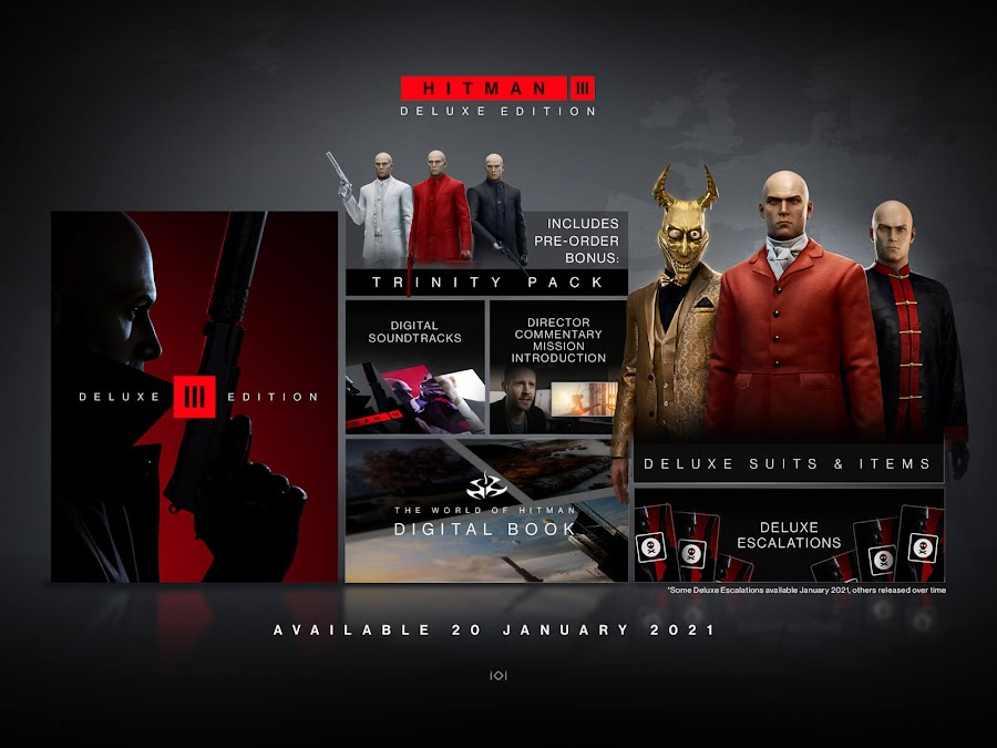hitman 3 deluxe edition deluxe pack escalations in-game items suits digital soundtracks stealth action-adventure game io interactive pc playstation 4 ps4 playstation 5 ps5 xbox one xb1 xbox series x xsx world of assassination trilogy