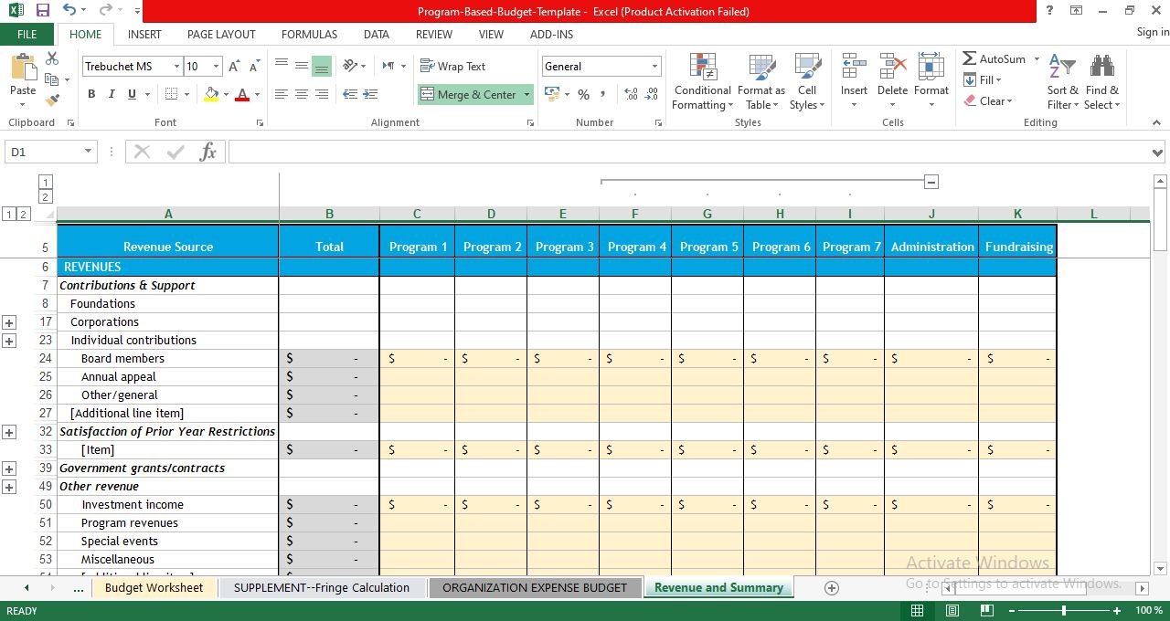 Revenue and Summary template