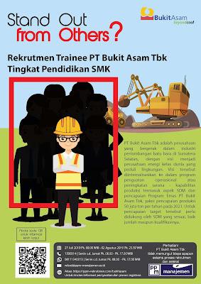 Lowongan Kerja PT Bukit Asam Tbk Tingkat Pendidikan SMK