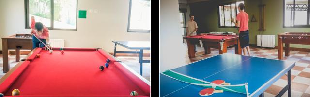 Duas fotos, a esquerda mesa de sinuca e a direito mesa de ping pong