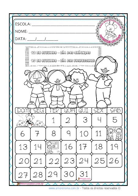 Alfabetização matemática, Atividades com calendários, Calendário de outubro,
