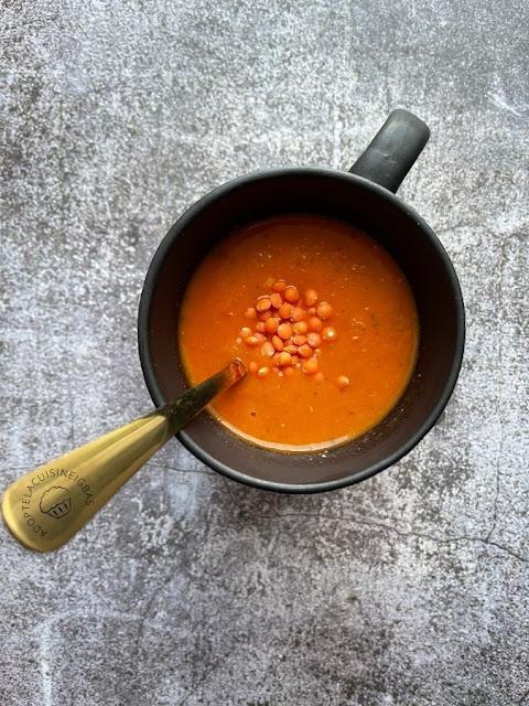 Velouté lentilles corail et tomates - soupe - Recette facile - IG bas