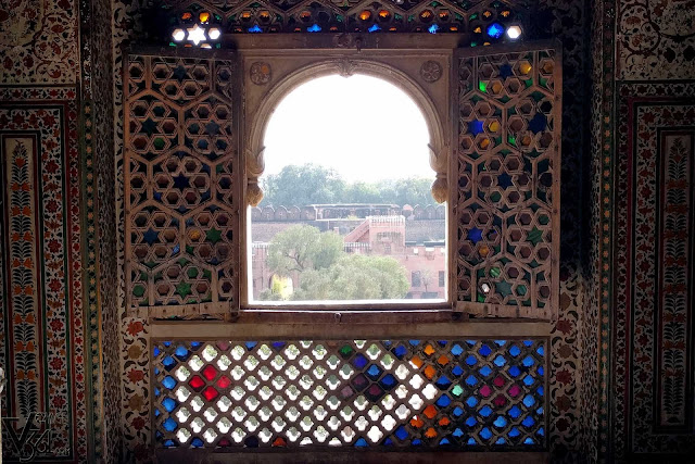 Stained glass windows, Gaj Mandir