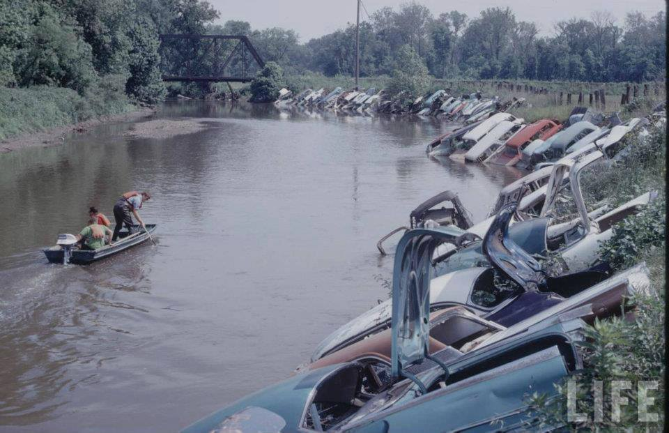 Just A Car Guy: Shoring River Banks With Wrecked Cars