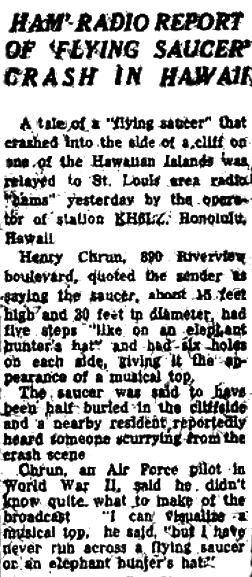 Ham Radio Report of Flying Saucer Crash in Hawaii – St Louis Post Dispatch 4-30-1950