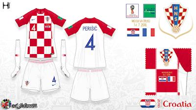 79084f4548 Away kit preto usado pela primeira vez com camisa reserva pela Croácia