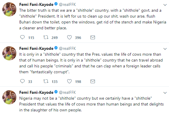''The bitter truth is that we are a shithole country, with a shithole government. and a shithole President'' FFK says