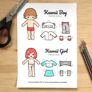 Kawaii coloring pages girl