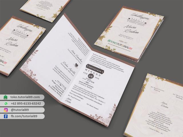 Undangan pernikahan 89.S181 - Seimpel Lipat 2 +stiker label undangan