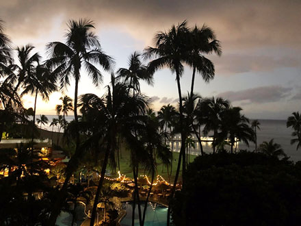 Looking out the hotel window at sunrise on Waikiki Beach (Source: Palmia Observatory)