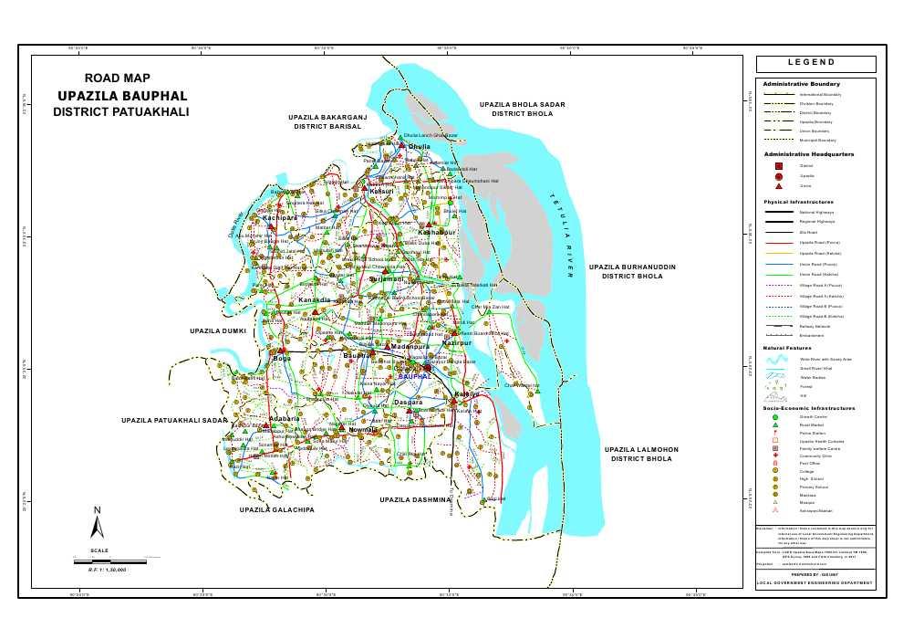 Bauphal Upazila Road Map Patuakhali District Bangladesh