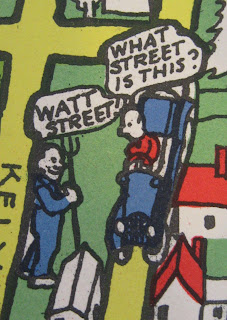 "A cartoon of two men talking to each other. One sits in a car, asking ""What street is this?"" The other stands next to the road and answers, ""Watt Street."""