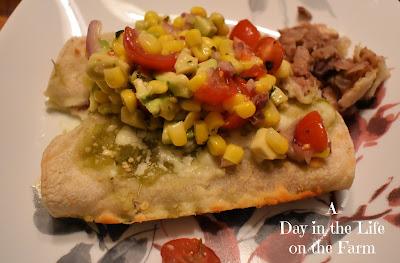 Three Bean Enchiladas with Corn Salsa