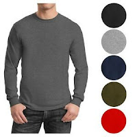 Mens Long Sleeve Tees Crew Neck Cotton Blend Layer Lounge Work Casual