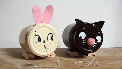 ricicla barattolo per realizzare porta filo gatto e coniglio