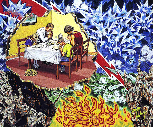 a Robert Williams painting of a family praying at the dinner table