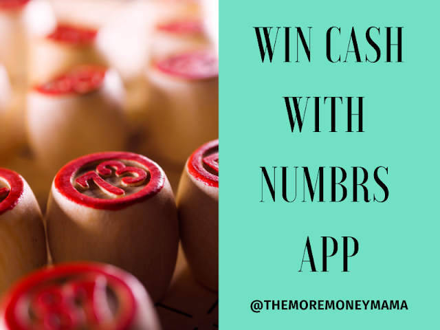 Image of number stamps made of wood and painted with red insignia to show which number is on which stamp. Next to a green square background that read win cash with the numbrs app @themoremoneymama