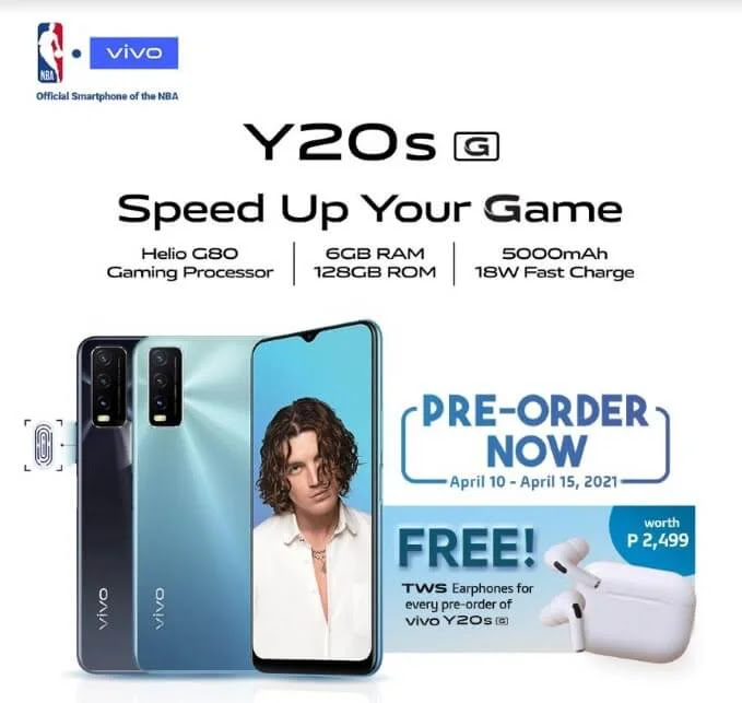 Pre-order the new vivo Y20s [G] from April 10 to 15 to get free vivo TWS earphones