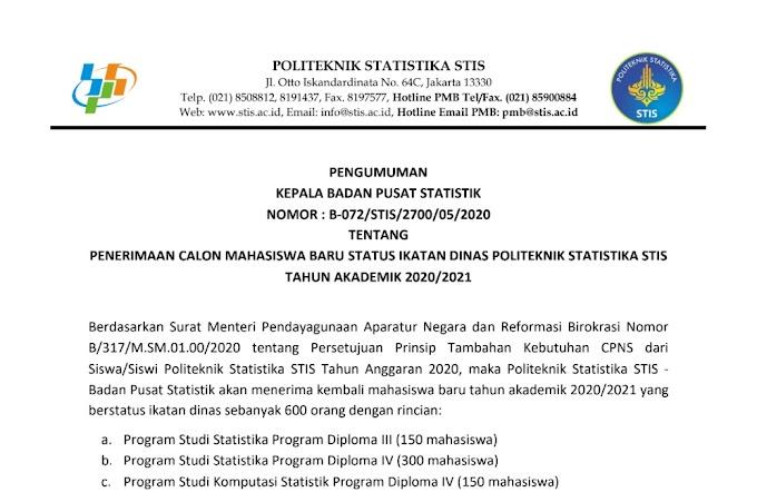 Pendaftaran Mahasiswa Baru, Politeknik Statistika STIS Buka 600 Formasi