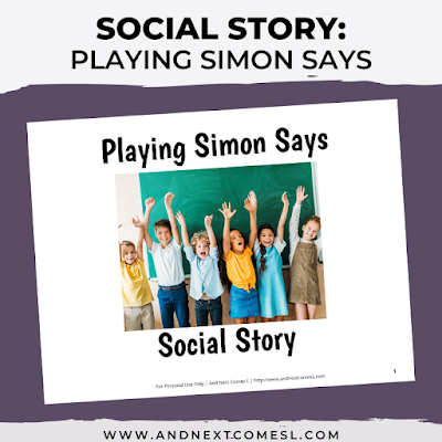 A social story to teach kids how to play Simon Says game