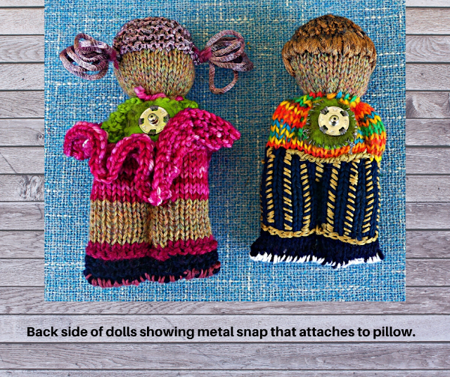 BACKSIDE view of Male Female hand-knit dolls for pillow design by Minaz Jantz