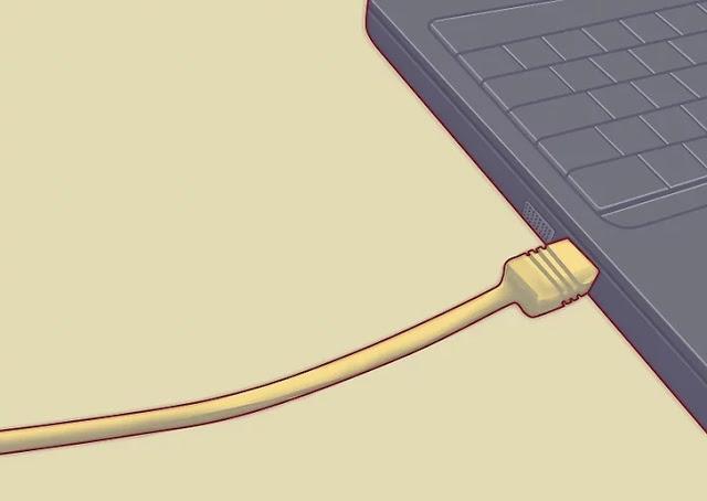 قم بتوصيل الكمبيوتر المحمول بالمودم باستخدام كابل الشبكة