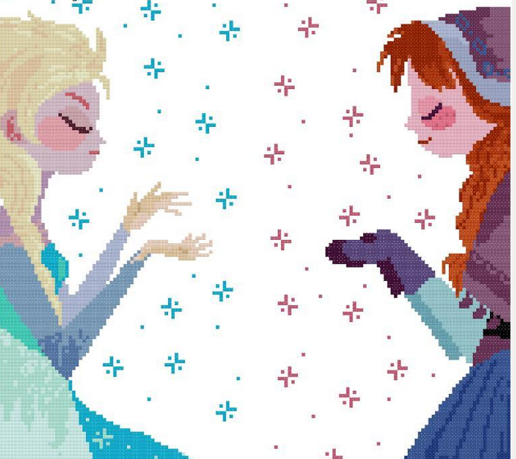 Free Cross stitch pattern Anna and Elsa inspired by Disney Kawartha Lakes Kids will love this