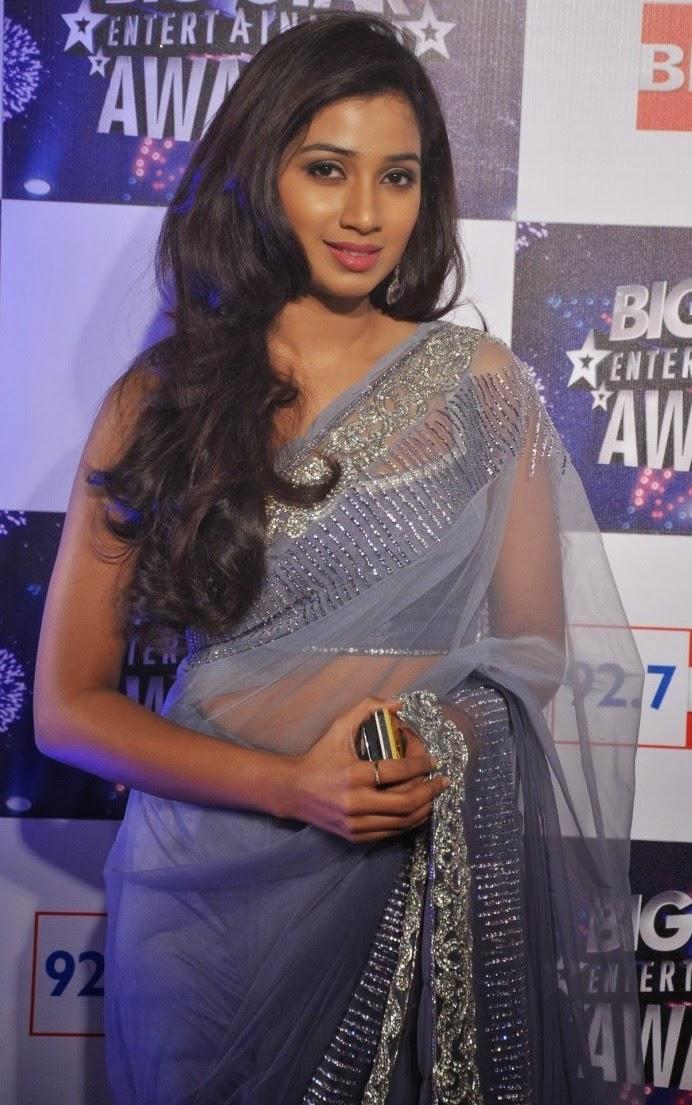 Indian Hot Singer Shreya Ghoshal Long Hair Hip Navel Stills In Designer Blue Saree