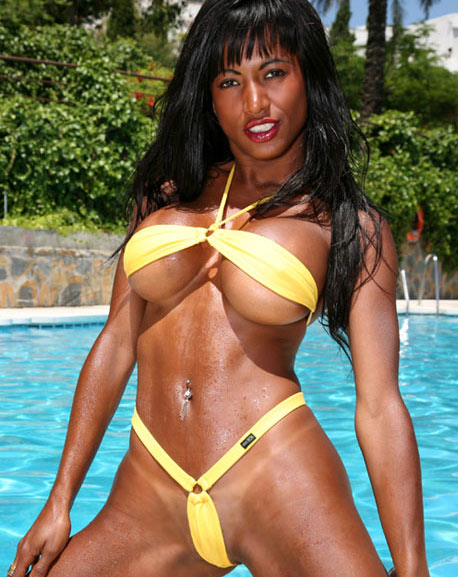 Ebony model in micro bikini