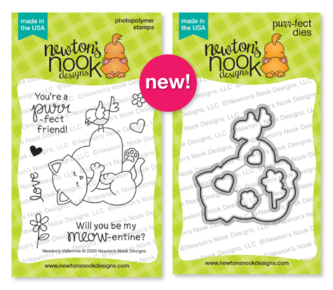 Newton's Valentine Stamp Set and coordinating Die Set by Newton's Nook Designs #newtonsnook