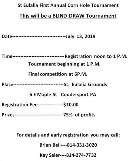 7-13 St. Eulalia Corn Hole Tournament