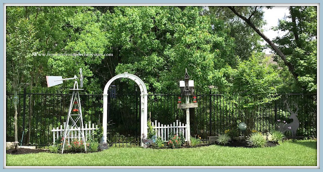Backyard- Garden-DIY-English-Country-Garden-Archway-Picket Fence-Roses-Salvia-Jasmine-From My Front Porch To Yours