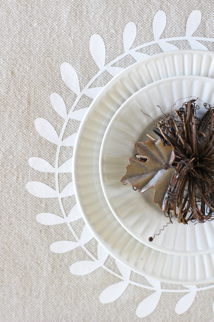 DIY Thanksgiving tablecloth adds a pretty and custom touch to your Thanksgiving tablescape