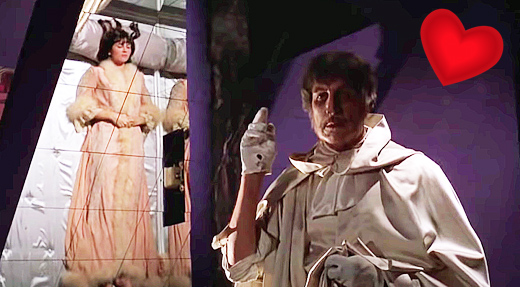 Caroline Munro and Vincent Price in The Abominable Dr. Phibes, 1971
