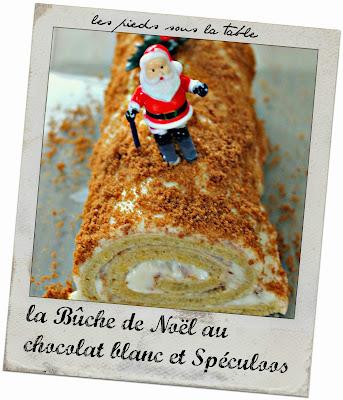 la Bûche de Noël au chocolat blanc et Spéculoos