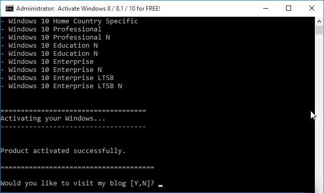 Thông báo kích hoạt thành công Windows
