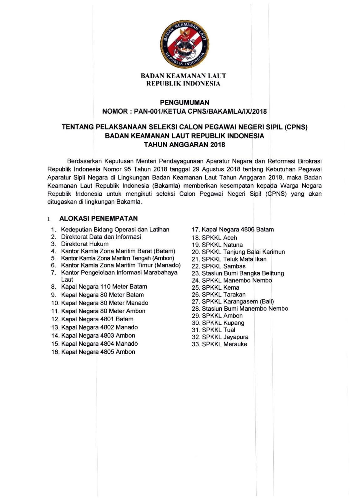Lowongan CPNS Badan Keamanan Laut Republik Indonesia (95 Formasi) Minimal SMA SMK