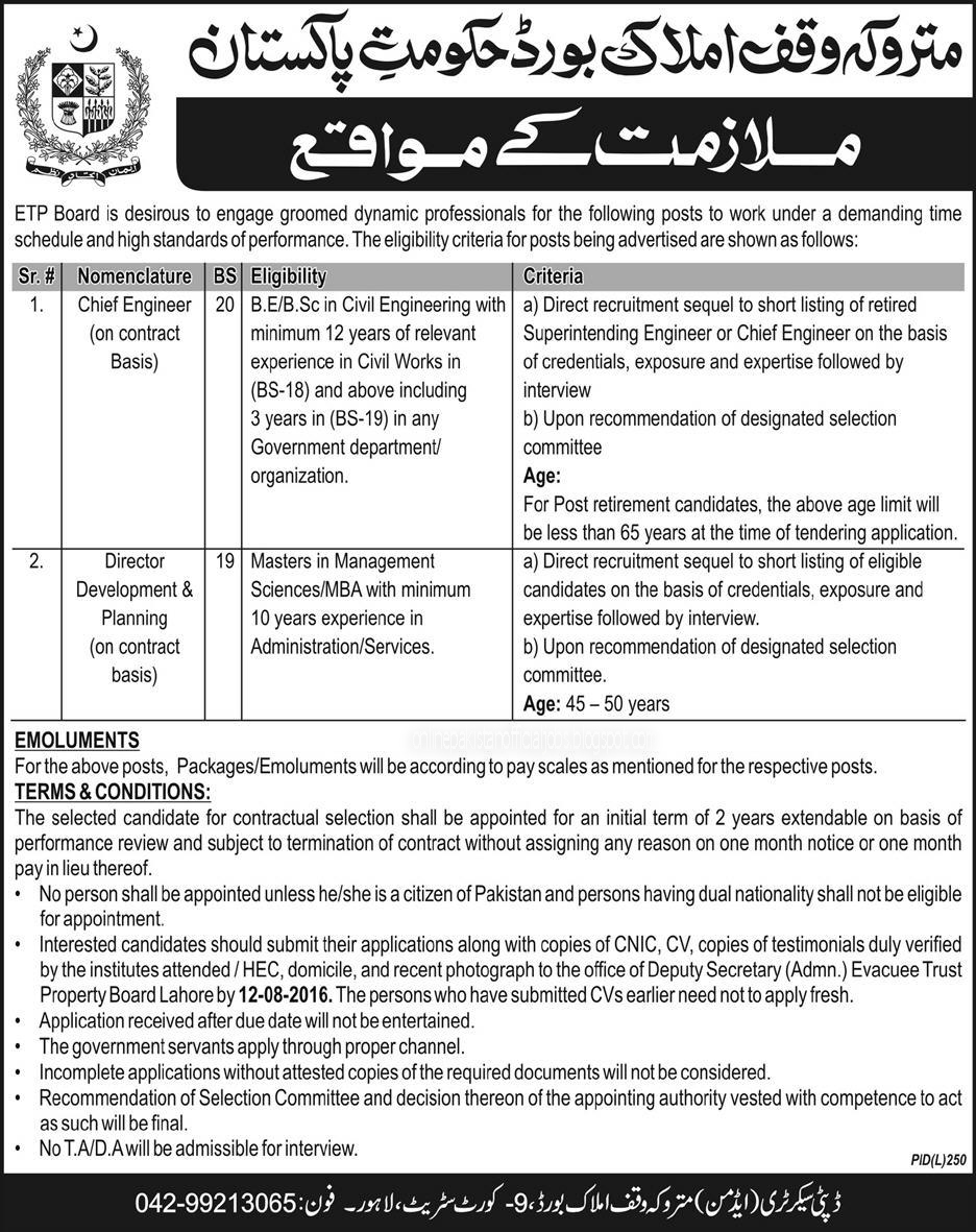Jobs in Evacuee Trust Property Board Lahore july 2016