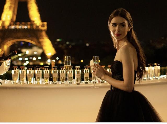 Emily in Paris Black Dress Eiffel Tower