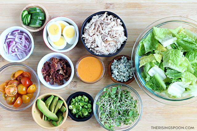 ingredients for making buffalo chicken cobb salad