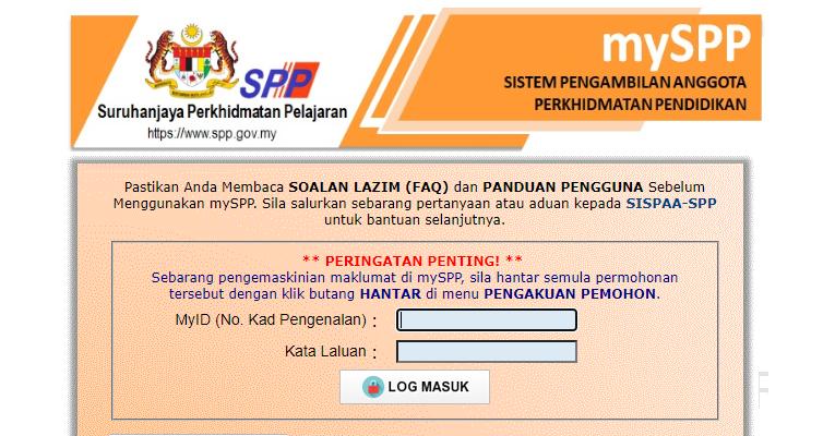 Permohonan Jawatan Suruhanjaya Perkhidmatan Pelajaran Spp Menggunakan Sistem Myspp Jobcari Com Jawatan Kosong Terkini