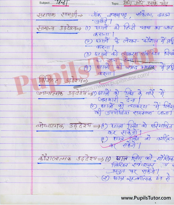 Ling Lesson Plan in Hindi Grammar for B.Ed First Year - Second Year - DE.LE.D - DED - M.Ed - NIOS - BTC - BSTC - CBSE - NCERT Download PDF for FREE