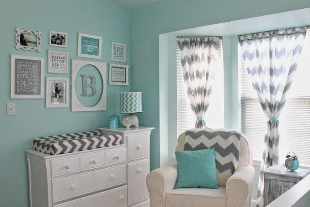 Dormitorios de beb en turquesa y gris ideas para for Habitacion blanca y turquesa
