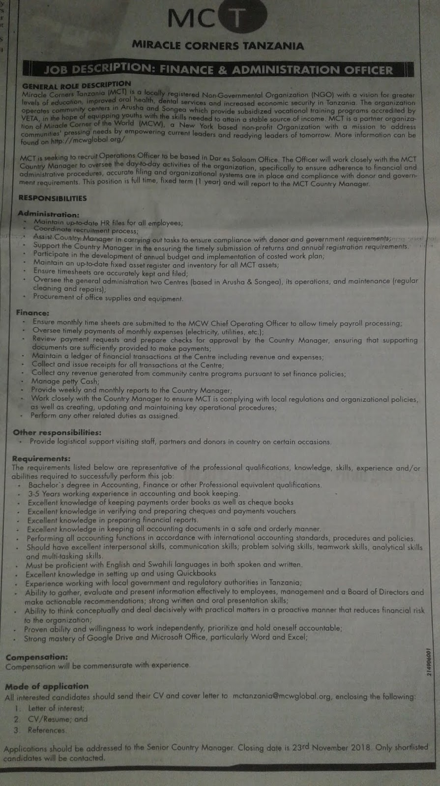 Job Opportunities For Finance & Administration Officer At MCT | Find