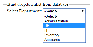 How to fill DropDownList from Sql server database in asp net