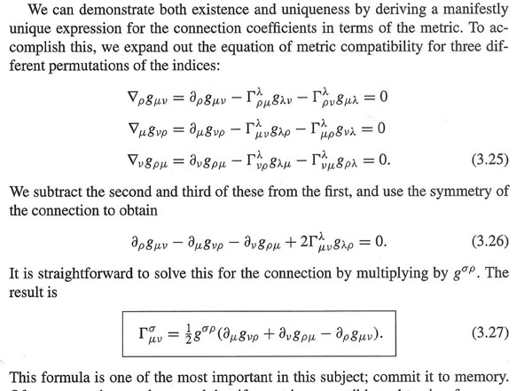 """Calculating the Christoffel symbols (Source: Sean Carroll, """"Spacetime and Geometry"""")"""
